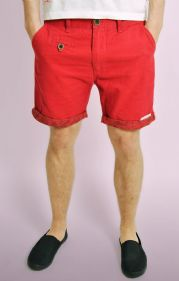 Red Hawaii Print Turn Up Chino Shorts